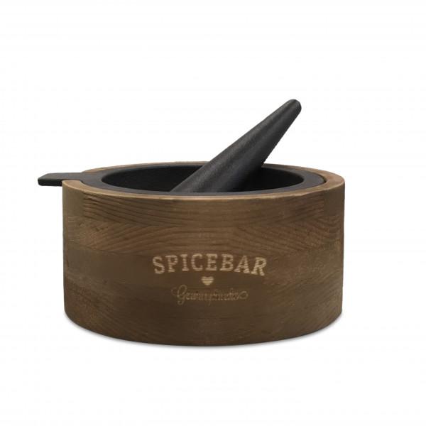 Spicebar Mörser, Gußeisen mit Holzsockel und Stößel
